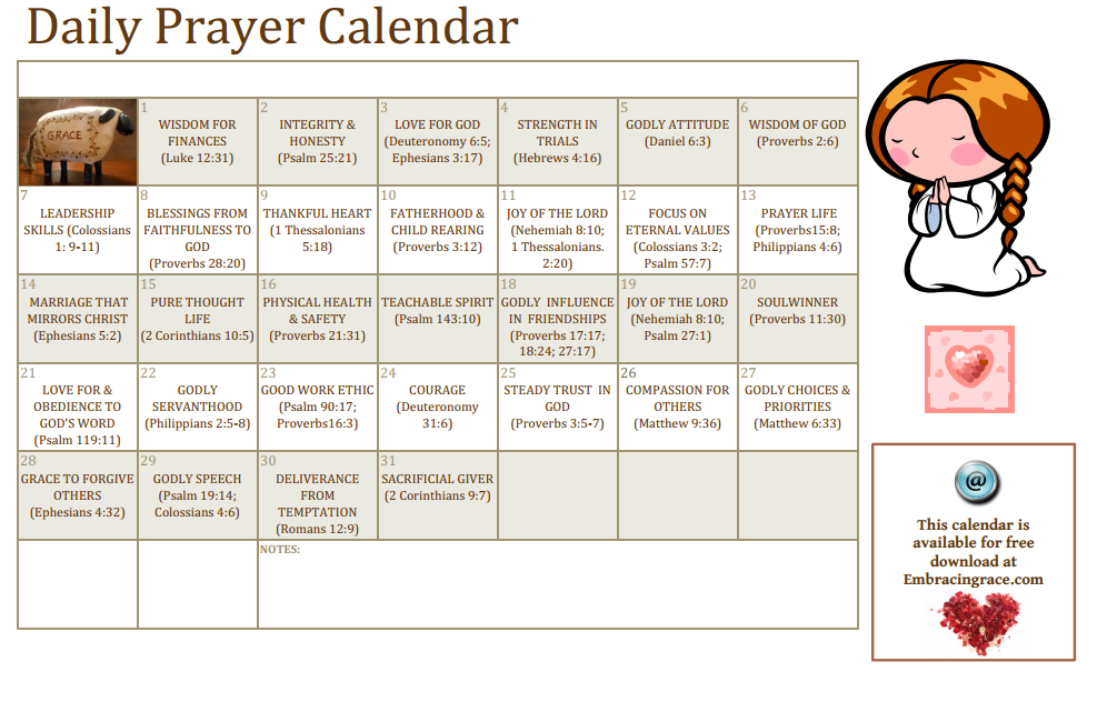 Give the Gift of Prayer~ A Free Printable Calendar for Wives